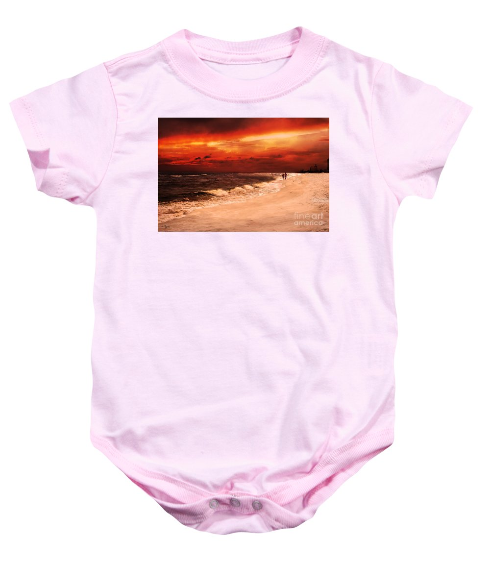 Sunset Baby Onesie featuring the photograph Sunset Walk by Mechala Matthews