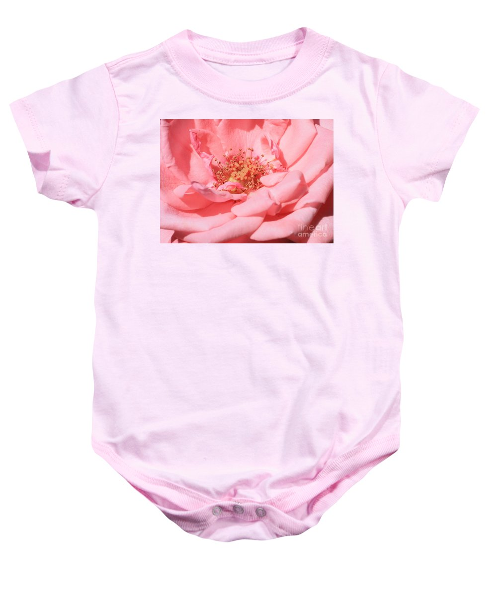 Roses Baby Onesie featuring the photograph Sweet Pink Rose by Carol Groenen