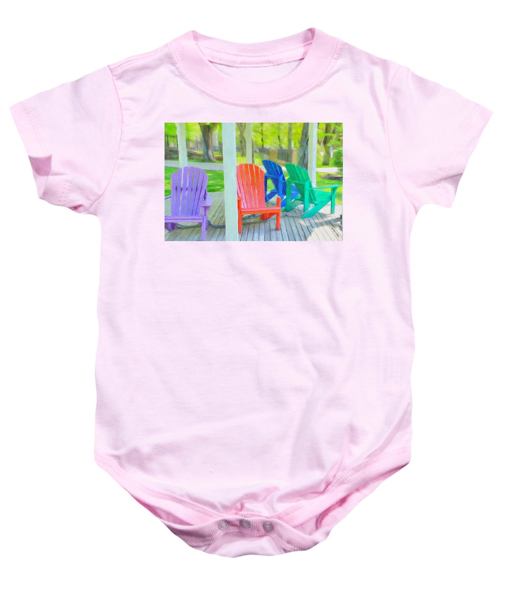Halifax Baby Onesie featuring the painting Take A Seat But Don't Take A Chair by Jeffrey Kolker
