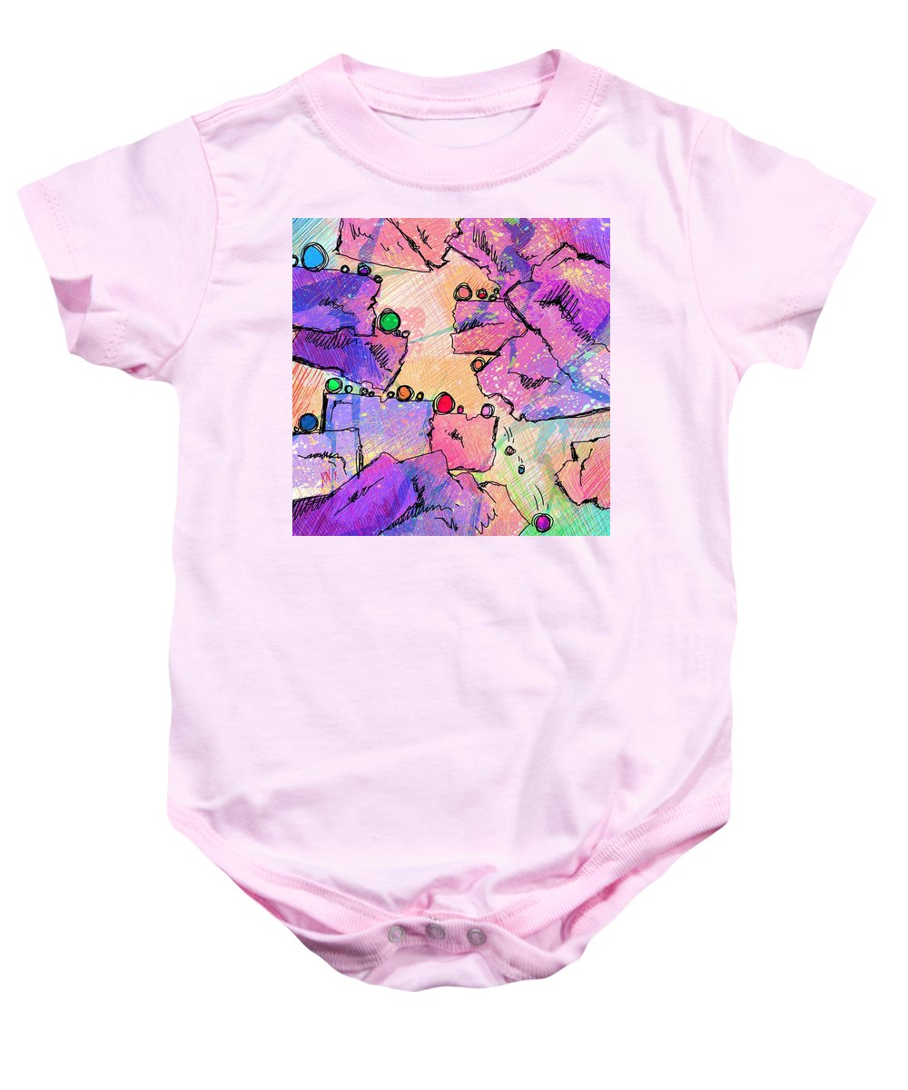 Abstract Baby Onesie featuring the digital art Taking Turns by Rachel Christine Nowicki
