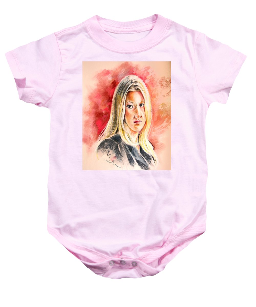 Tara Summers Baby Onesie featuring the painting Tara Summers In Boston Legal by Miki De Goodaboom