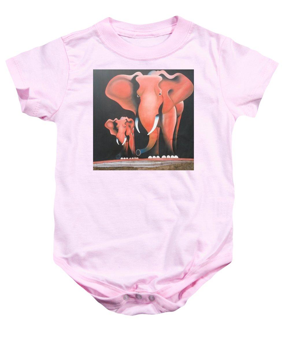 Elephant Baby Onesie featuring the painting Tembo by Omega Ndanshau