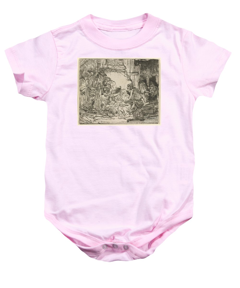 Baby Onesie featuring the drawing The Adoration Of The Shepherds: With The Lamp by Rembrandt Van Rijn