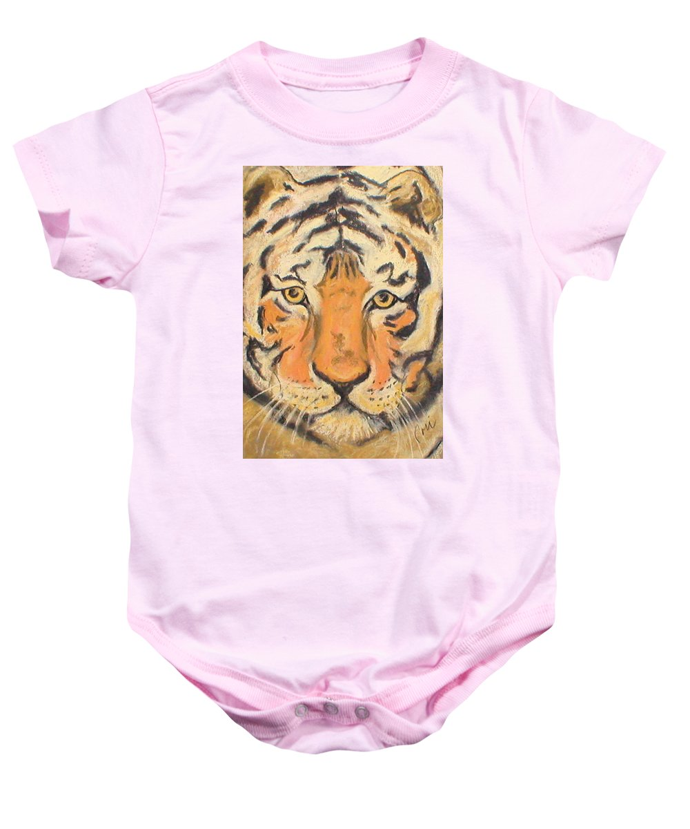 Pastel Baby Onesie featuring the drawing The Amber Stare by Cori Solomon