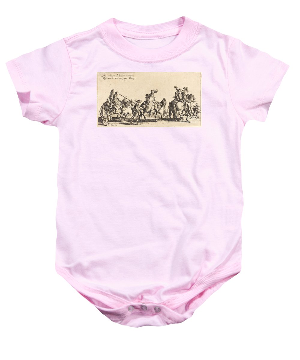 Baby Onesie featuring the drawing The Bohemians Marching: The Vanguard by Jacques Callot