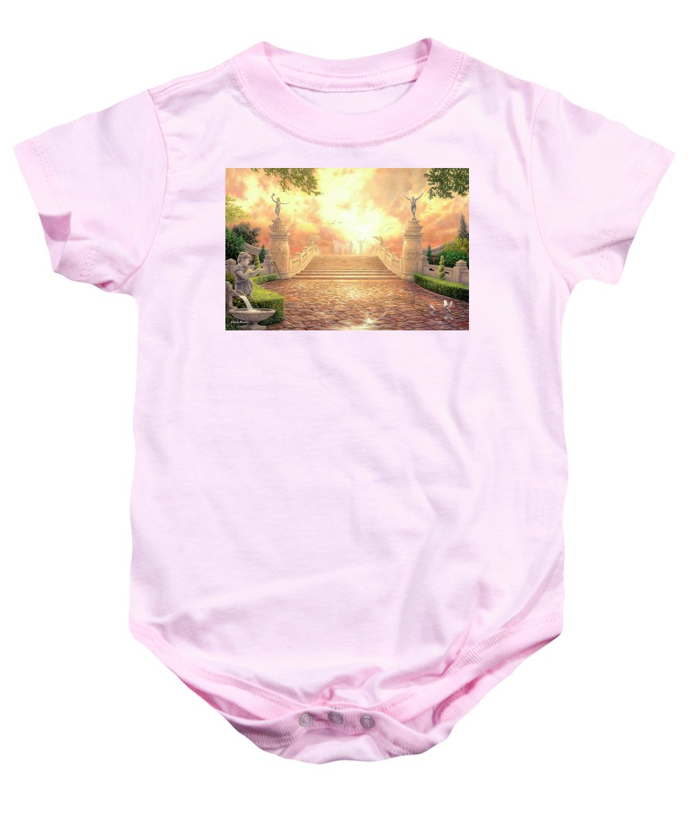 Heaven Baby Onesie featuring the painting The Bridge of Triumph by Chuck Pinson