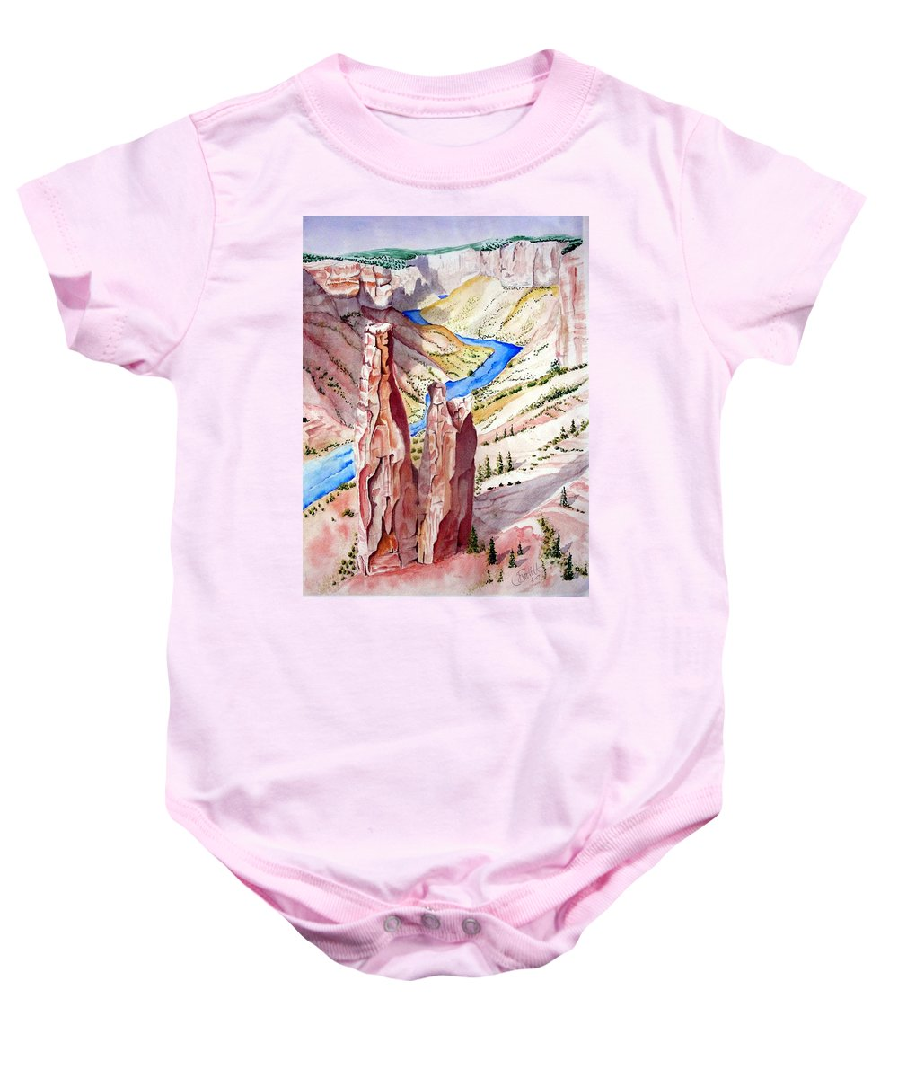 Canyon Baby Onesie featuring the painting The Canyon by Jimmy Smith