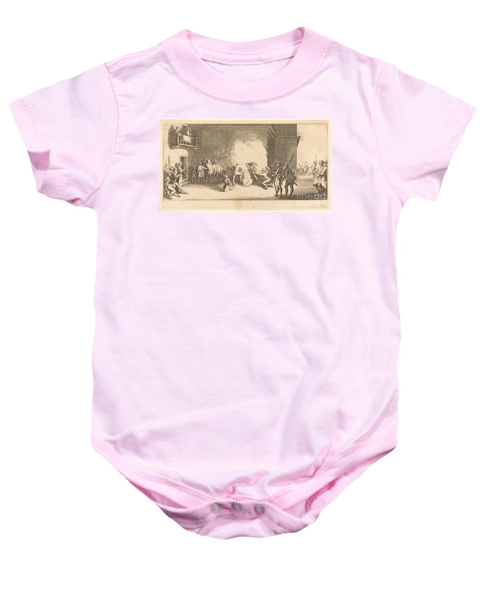 Baby Onesie featuring the drawing The Crowning With Thorns by Jacques Callot