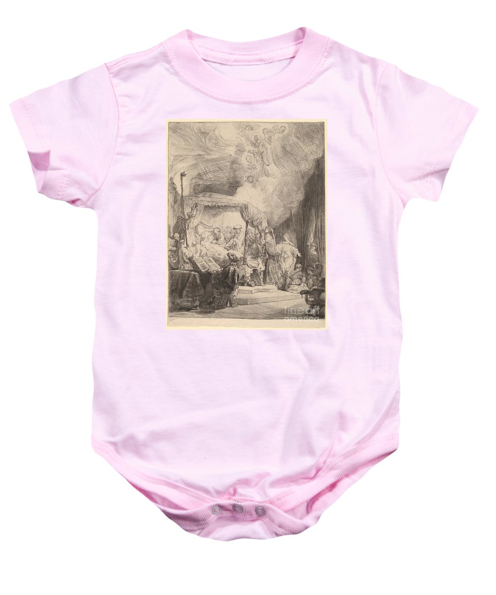 Baby Onesie featuring the drawing The Death Of The Virgin by Rembrandt Van Rijn