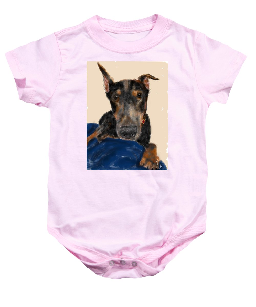Doberman Baby Onesie featuring the painting The Doberman by Lois Ivancin Tavaf