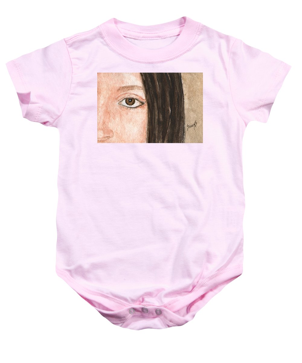 Face Baby Onesie featuring the painting The Eyes Have It- Katelyn by Sam Sidders