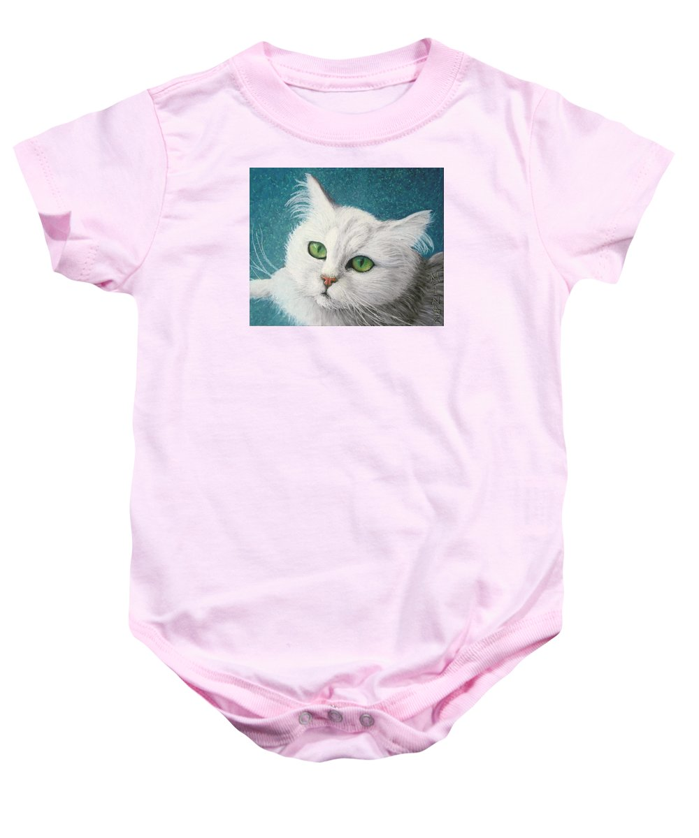 Angora Cat Baby Onesie featuring the painting The Green Eyed Vamp by Minaz Jantz