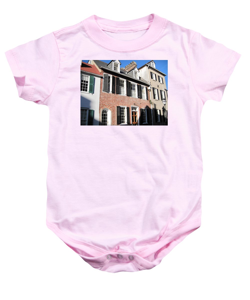 Photography Baby Onesie featuring the photograph The Houses Of Charleston by Susanne Van Hulst
