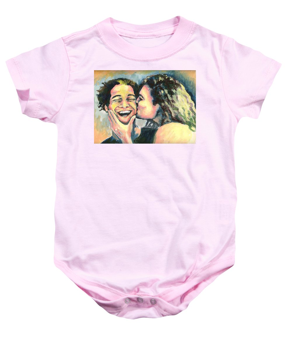 Man Baby Onesie featuring the painting The Kiss by Nicole Zeug