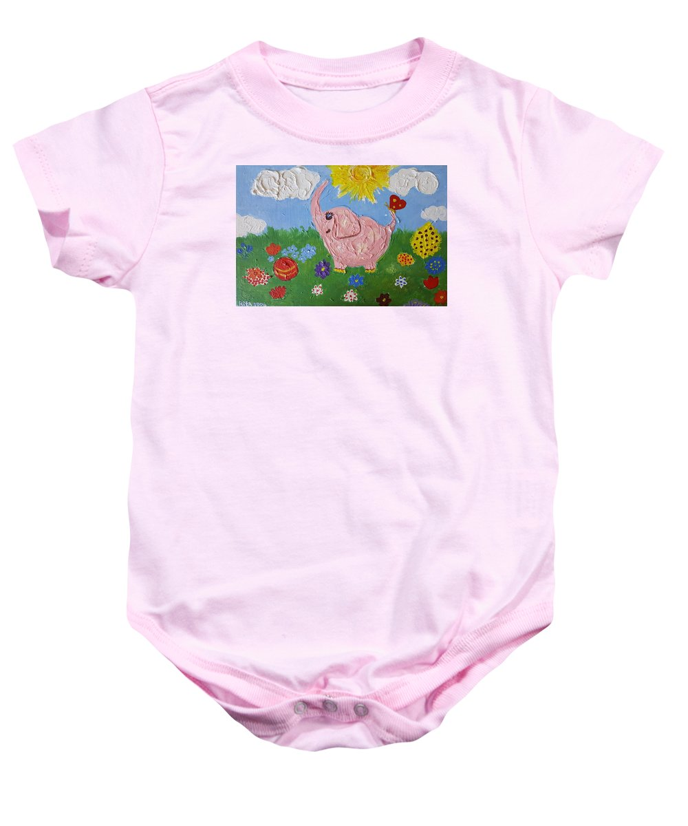 Elephant Baby Onesie featuring the painting Little Pink Elephant by Rita Fetisov