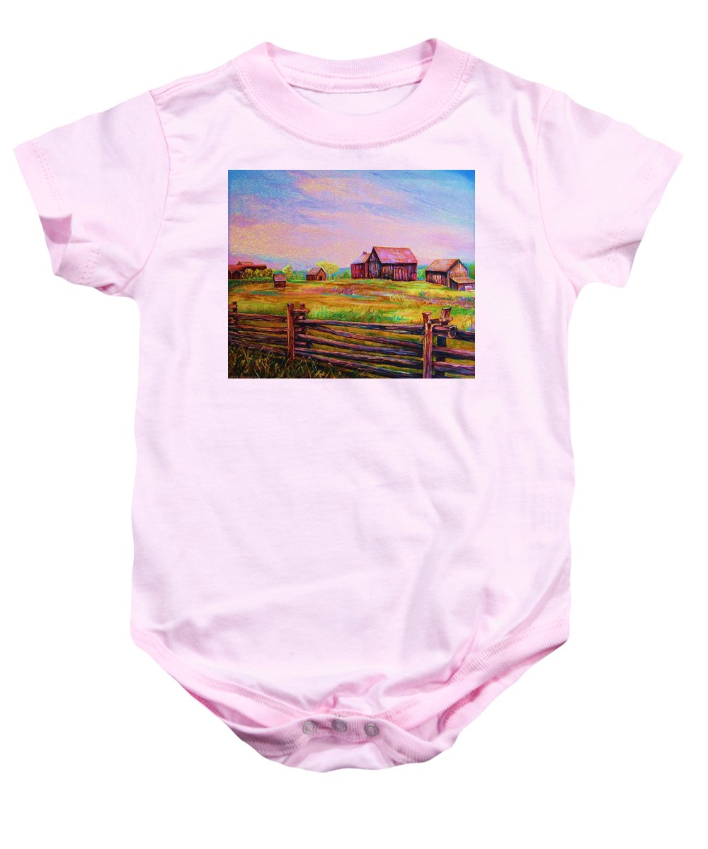 Ranches Baby Onesie featuring the painting The Log Fence by Carole Spandau