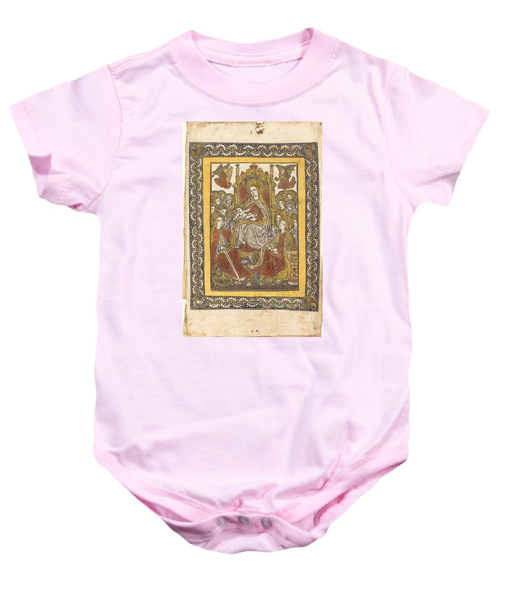 Baby Onesie featuring the drawing The Madonna Enthroned With Eighteen Holy Women by German 15th Century Or Master With The Mountain-like Clouds