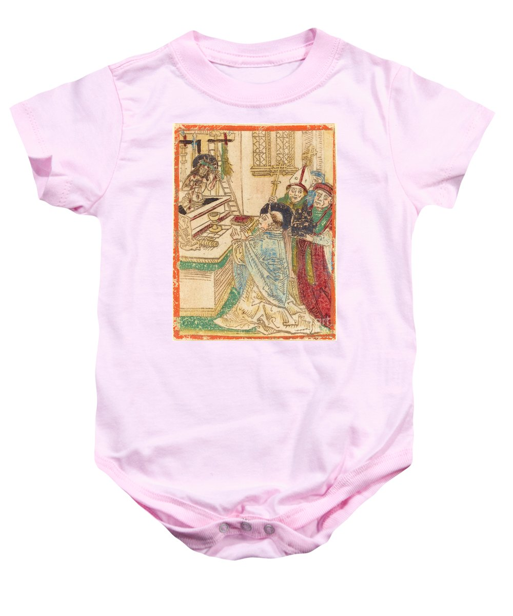 Baby Onesie featuring the drawing The Mass Of Saint Gregory by German 15th Century