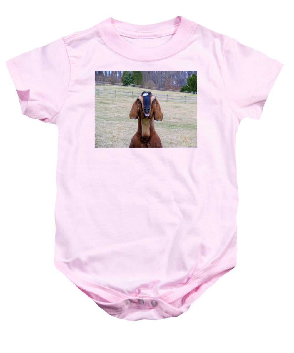 Animals Baby Onesie featuring the photograph The Name Is Billy... by Deborah Crew-Johnson