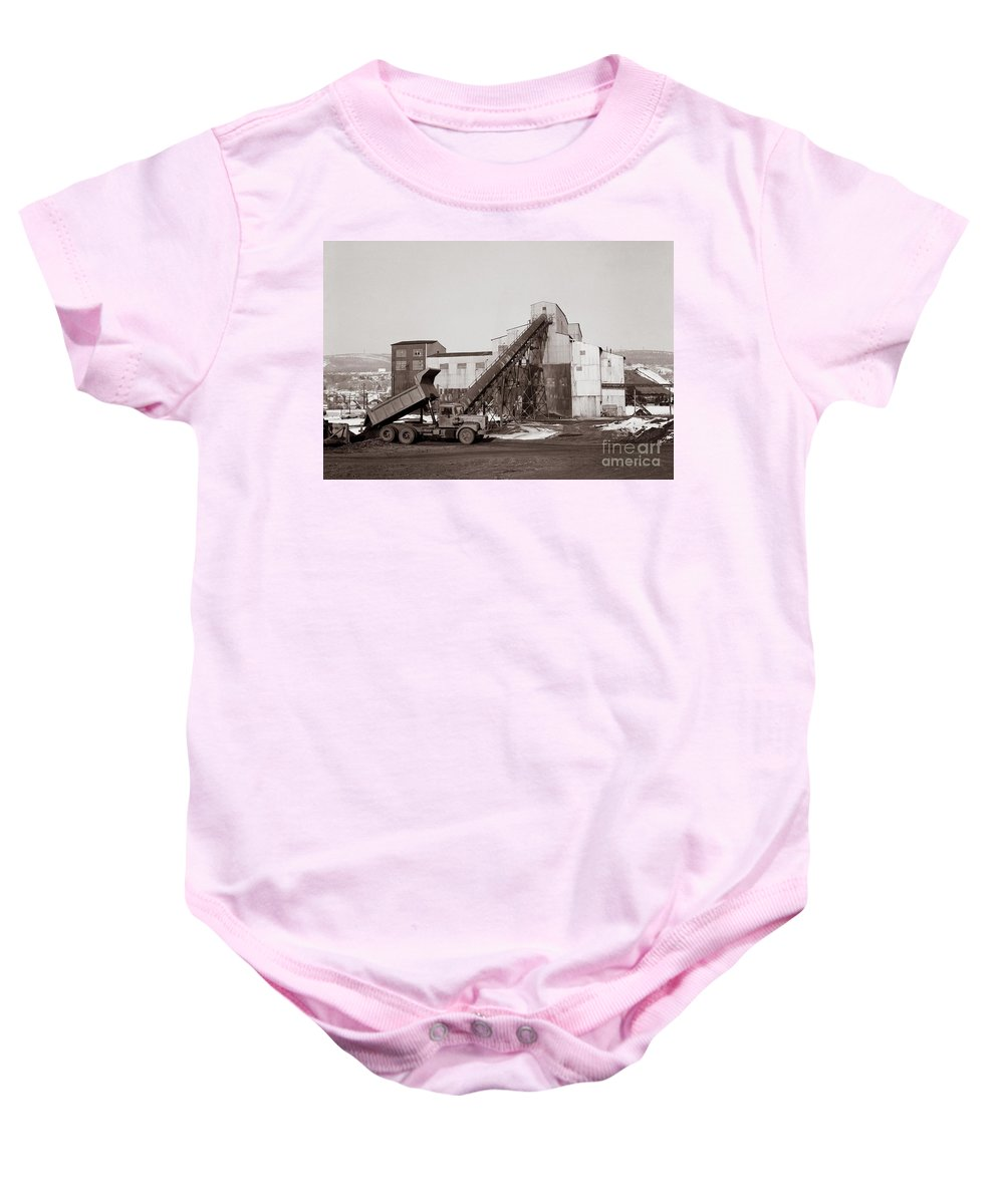 Anthracite Coal Baby Onesie featuring the photograph The Olyphant Pennsylvania Coal Breaker 1971 by Arthur Miller