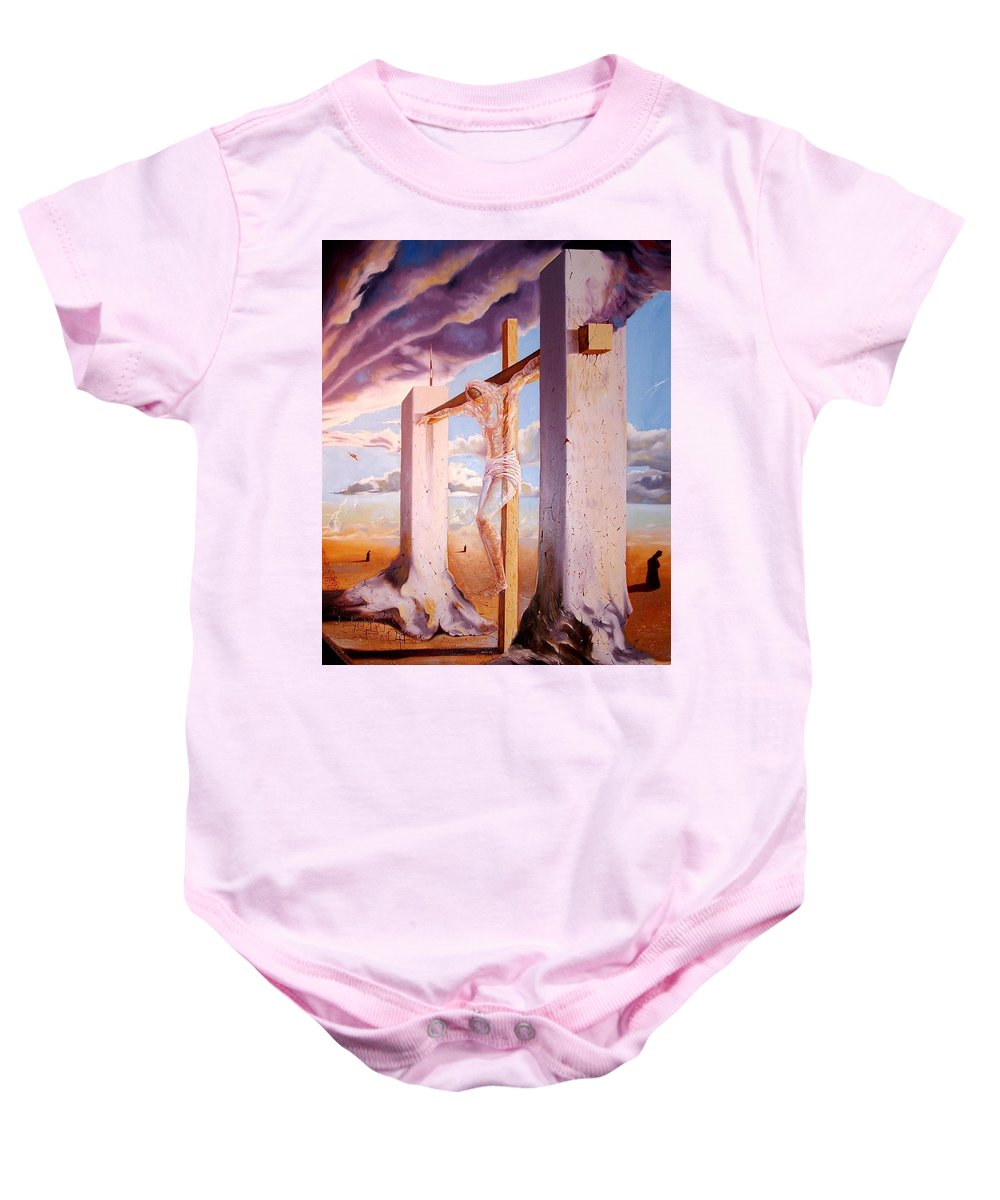 911 Baby Onesie featuring the painting The Pain Holder by Darwin Leon