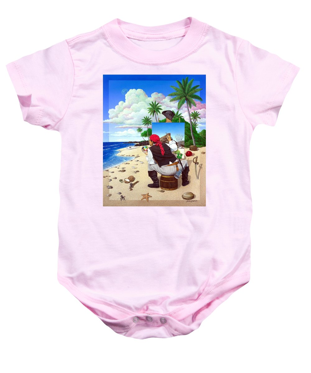 Pirate Baby Onesie featuring the painting The Painting Pirate by Snake Jagger