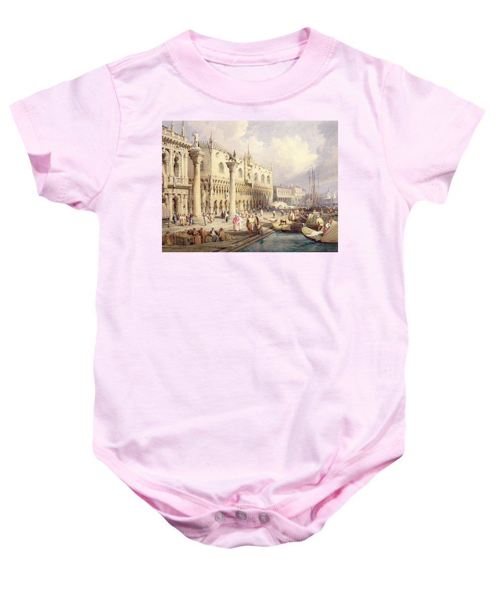 The Baby Onesie featuring the painting The Palaces Of Venice by Samuel Prout