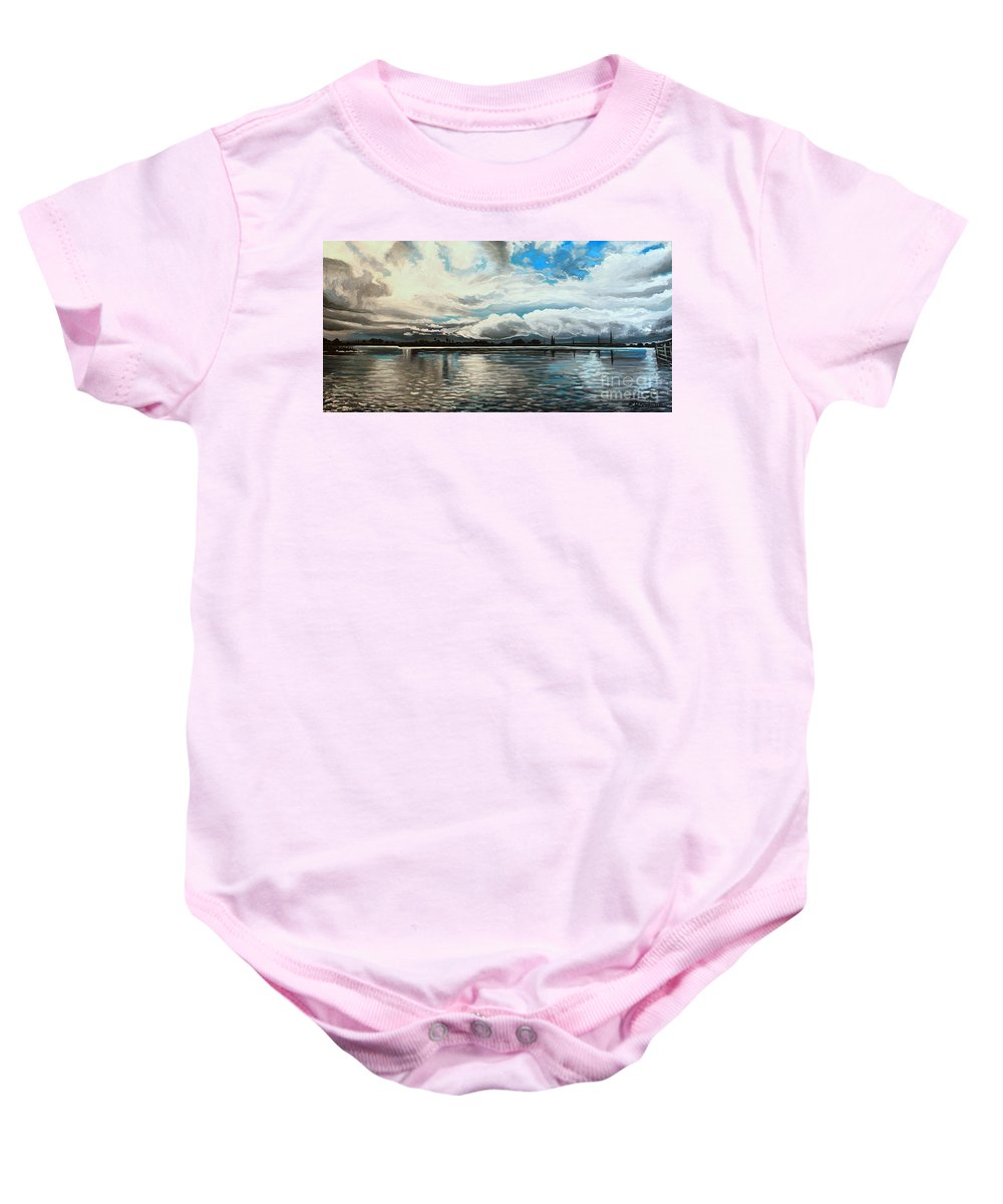 Landscape Baby Onesie featuring the painting The Panoramic Painting by Elizabeth Robinette Tyndall