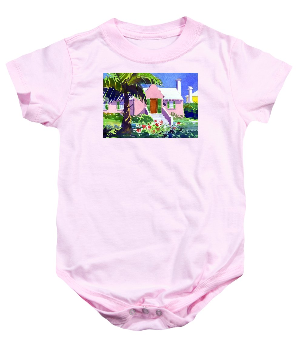 Bermuda Baby Onesie featuring the painting The Pink Palace by Lee Klingenberg