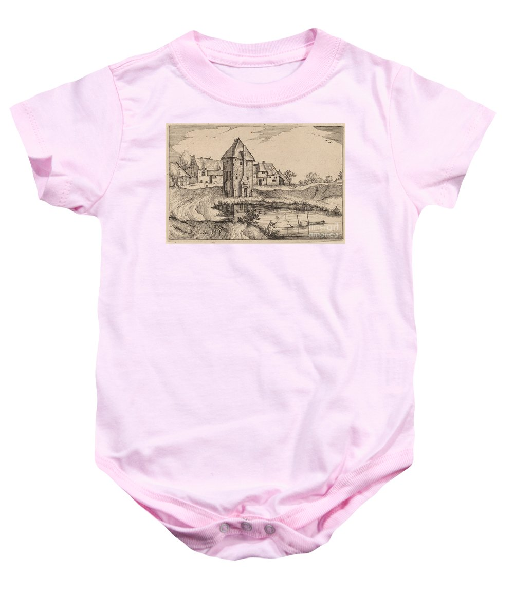 Baby Onesie featuring the drawing The Pond by Claes Jansz Visscher After Johannes Van Doetechum, The Elder After Lucas Van Doetechum After Master Of The Small Landscapes