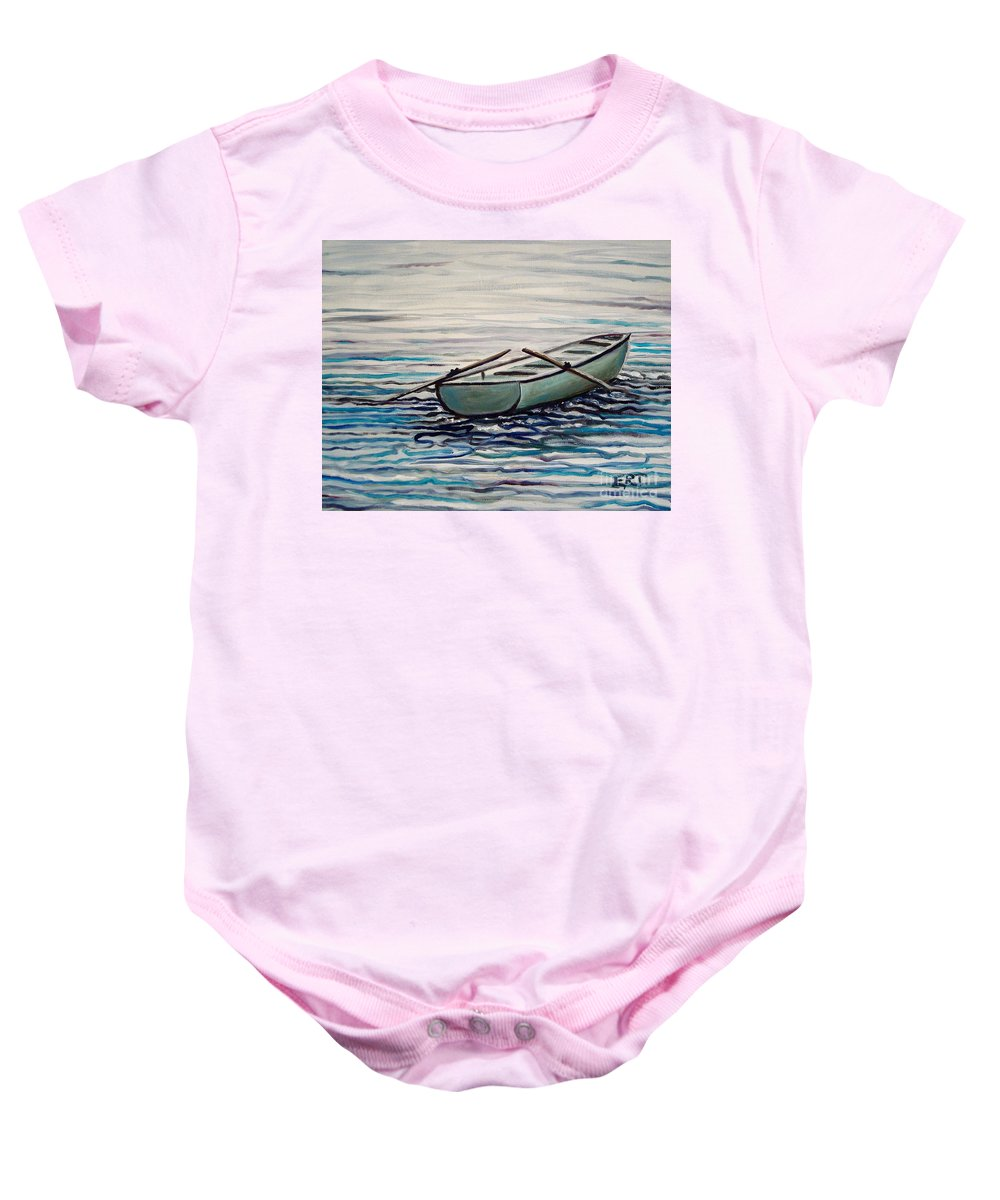 Water Baby Onesie featuring the painting The Row Boat by Elizabeth Robinette Tyndall