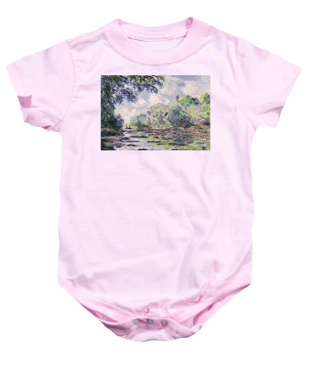 French Baby Onesie featuring the painting The Seine At Giverny by Claude Monet