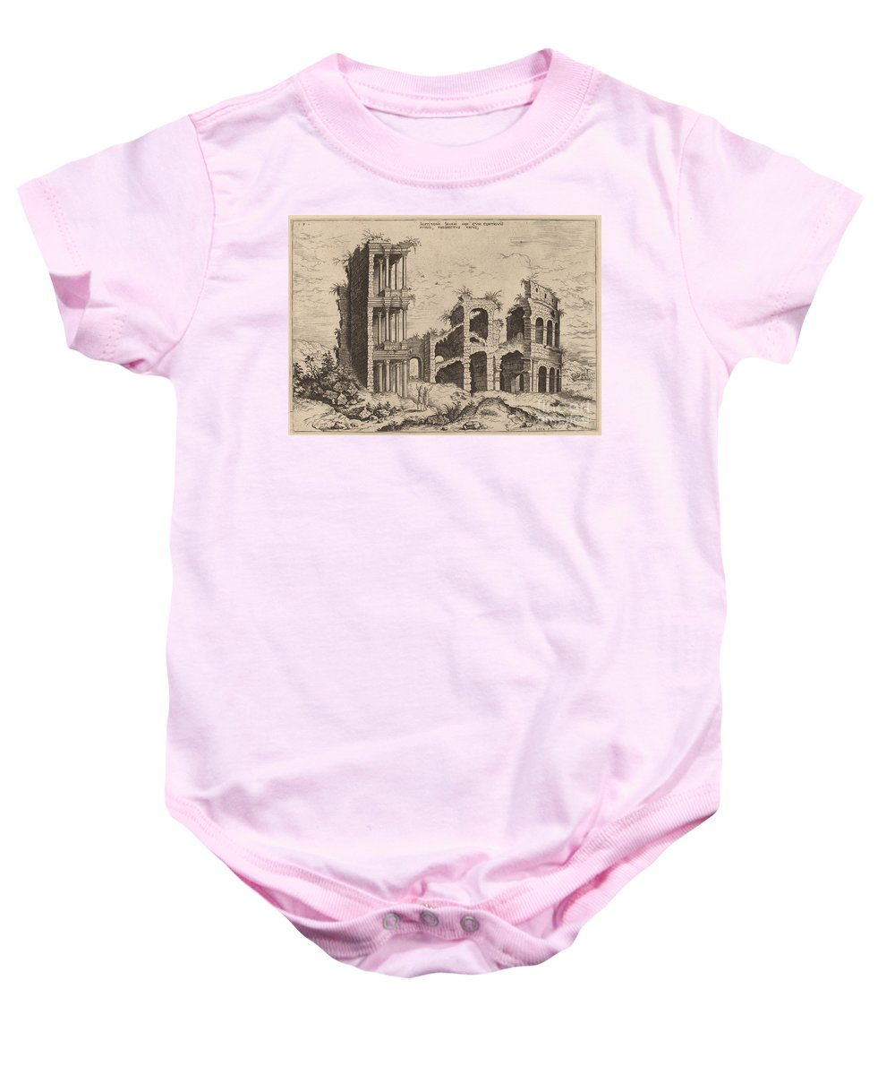 Baby Onesie featuring the drawing The Septizonium And The Colosseum by Hieronymus Cock