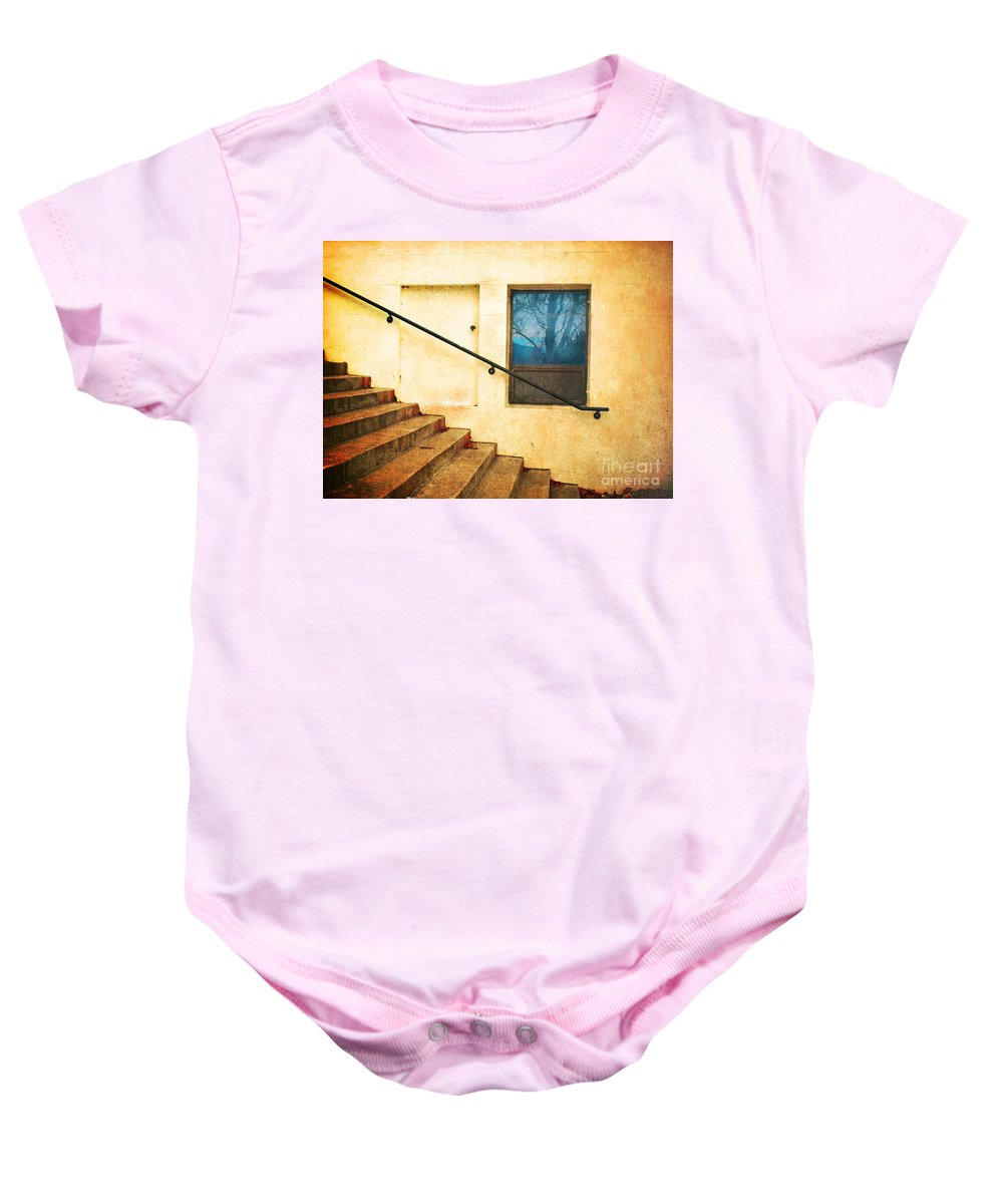 Stairs Baby Onesie featuring the photograph The Stairway Of Reflections by Tara Turner