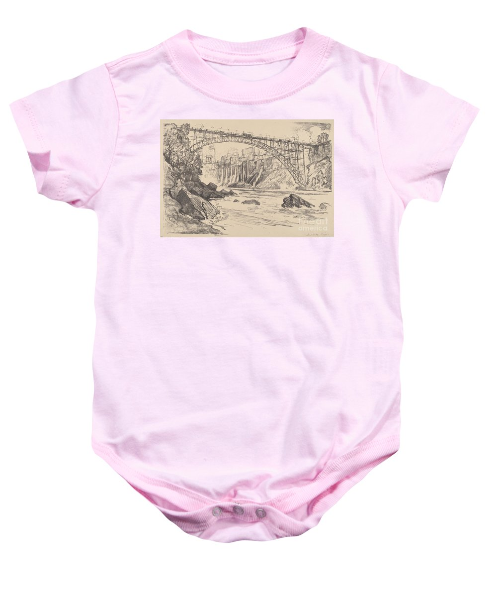 Baby Onesie featuring the drawing The Steel Bridge by Joseph Pennell
