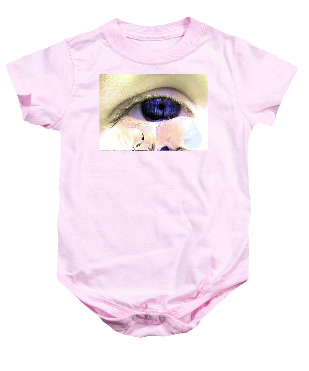 Eye Art Baby Onesie featuring the digital art The Tear by P Donovan