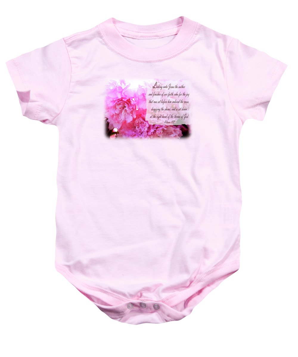The Throne Baby Onesie featuring the digital art The Throne - Verse by Anita Faye