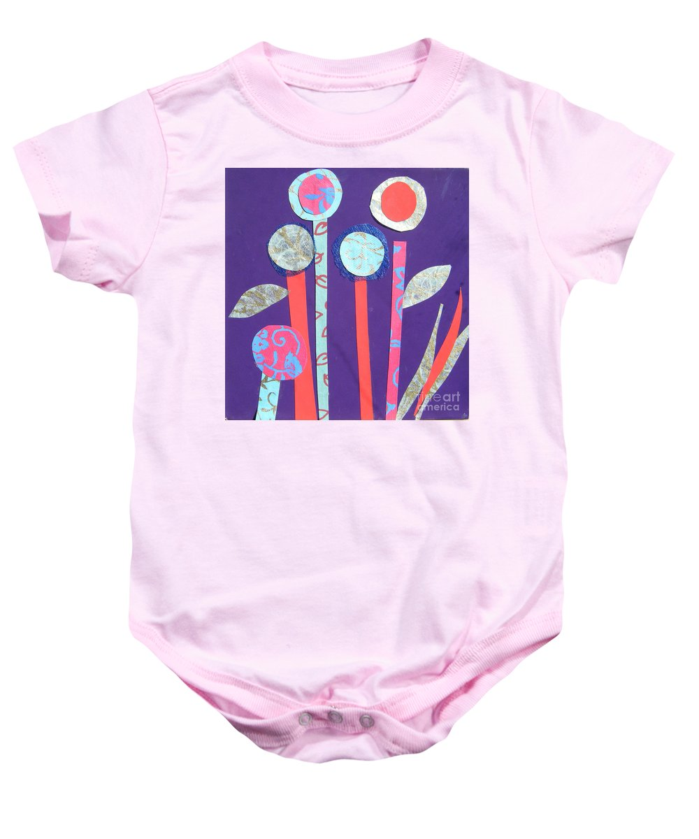 Flowers Baby Onesie featuring the mixed media The Violet Hour by Debra Bretton Robinson