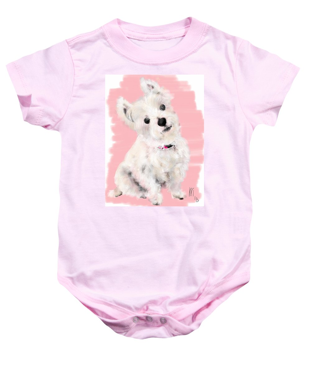 Bichon Baby Onesie featuring the painting The White Pooch by Lois Ivancin Tavaf