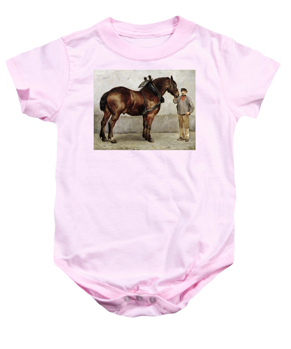 Horse Baby Onesie featuring the painting The Work Horse by Otto Bache