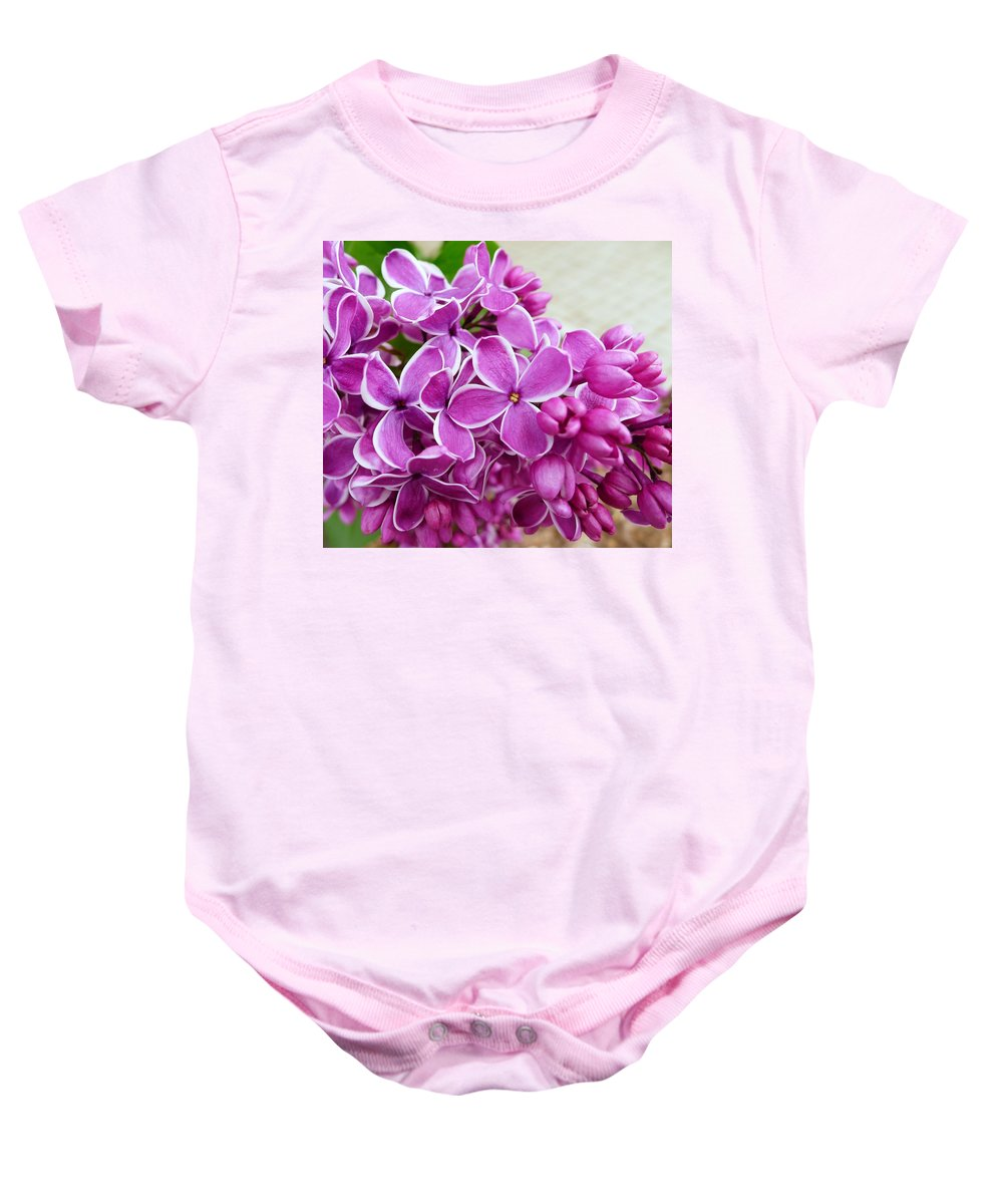 Regina Donetskaya Baby Onesie featuring the photograph This Lilac Has Flowers With A White Edging. 4 by Regina Donetskaya