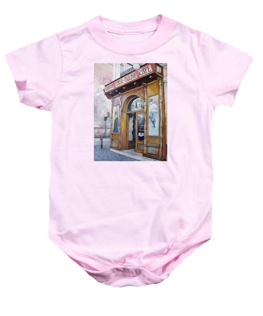 Tirso Baby Onesie featuring the painting Tirso De Molina Old Tavern by Tomas Castano