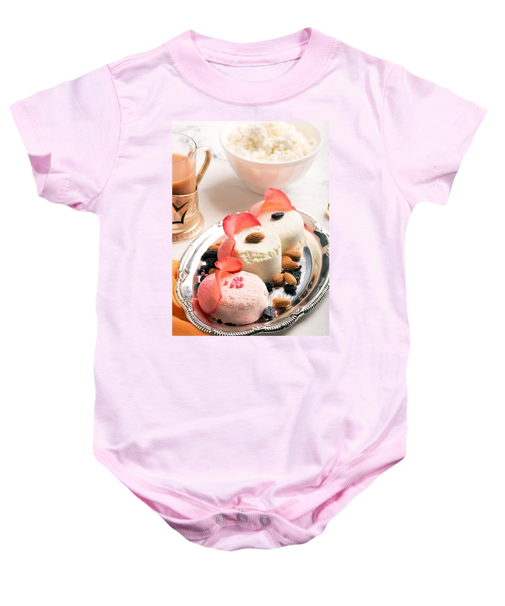 Vadim Goodwill Baby Onesie featuring the photograph Traditional Indian Sweet Sandesh by Vadim Goodwill