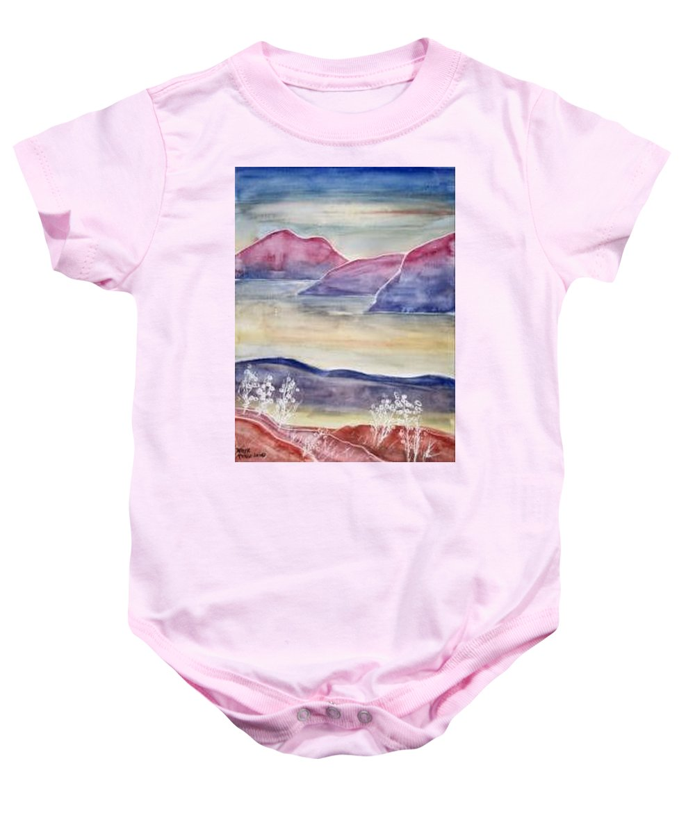 Watercolor Baby Onesie featuring the painting TRANQUILITY 2 mountain modern surreal painting print by Derek Mccrea