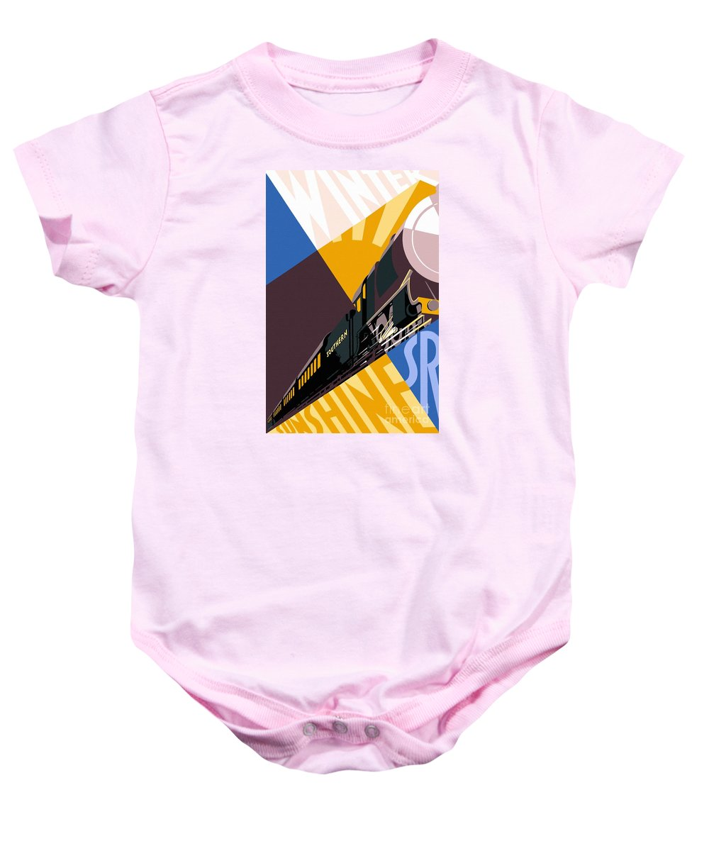 Retro Baby Onesie featuring the painting Travel South For Winter Sunshine by Heidi De Leeuw