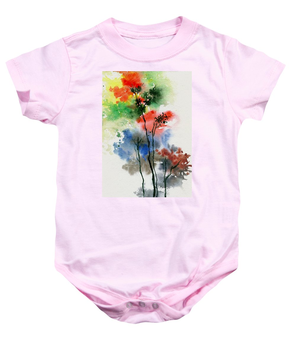 Trees Baby Onesie featuring the painting Trees In Colors by Anil Nene
