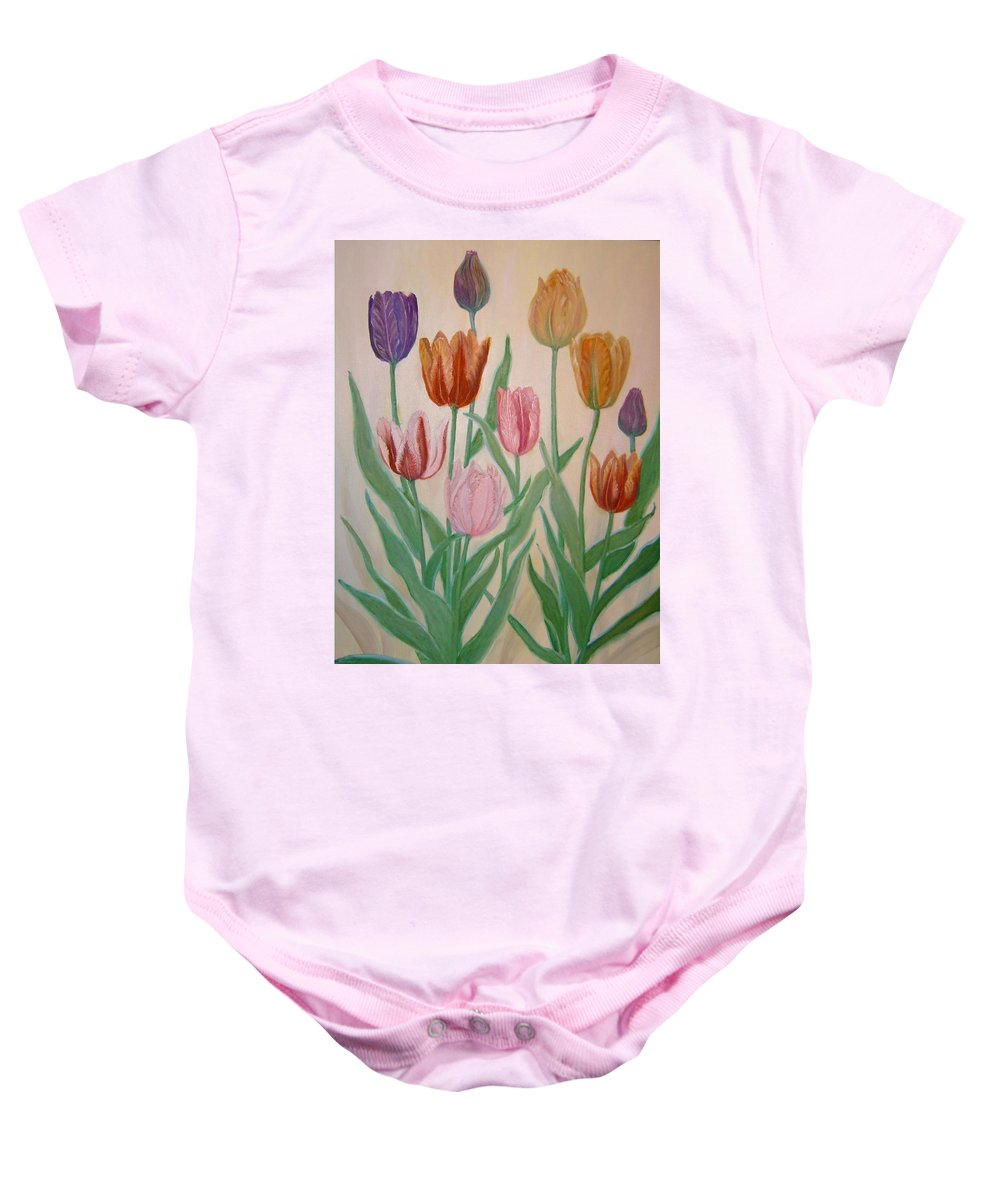 Flowers Of Spring Baby Onesie featuring the painting Tulips by Ben Kiger