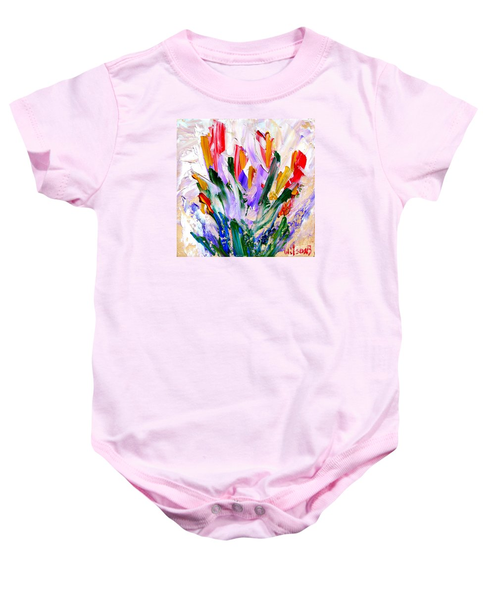 Original Baby Onesie featuring the painting Tulips by Fred Wilson