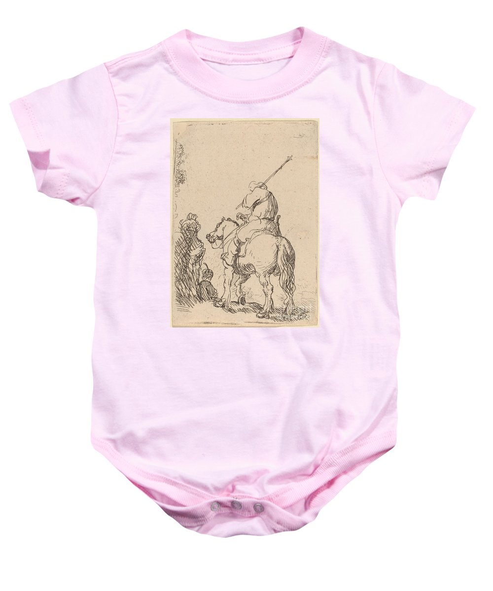 Baby Onesie featuring the drawing Turbaned Soldier On Horseback by Rembrandt Van Rijn
