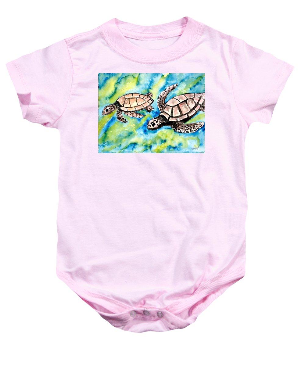 Love Baby Onesie featuring the painting Turtle Love Pair Of Sea Turtles by Derek Mccrea